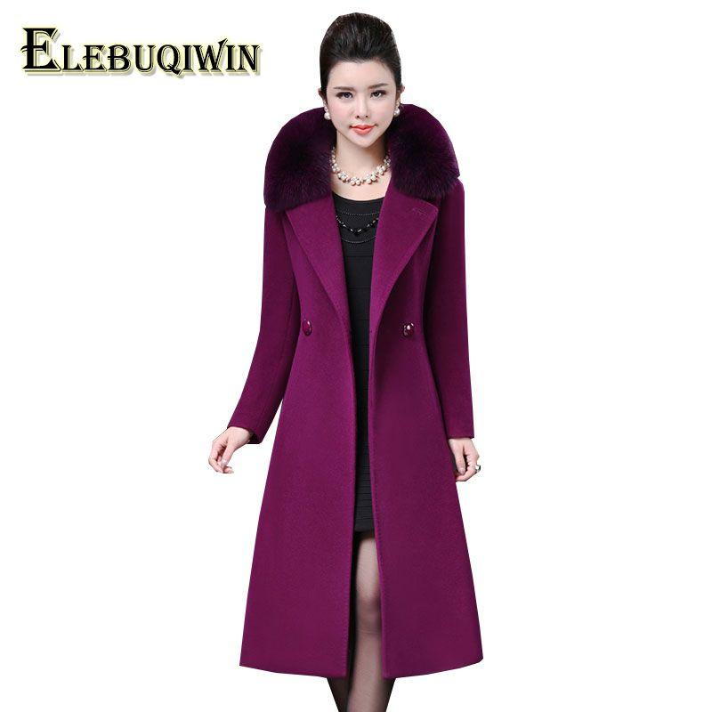 f7d05f38fc9 Plus size 4XL Middle aged Womens Woolen Coat Winter 2018 New Imitation Fox  Fur Collar Wool Overcoat Long Slim Woolen Jacket LS10
