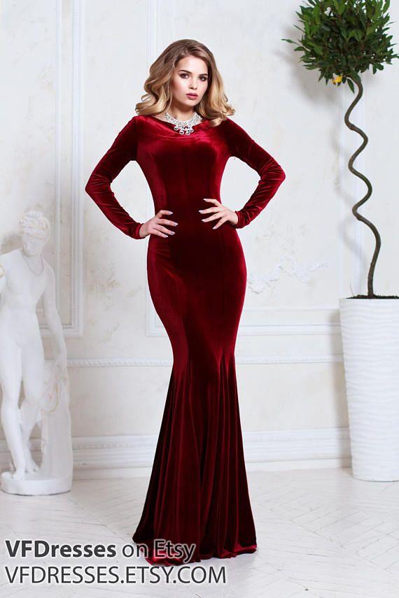 104faec6 Burgundy velvet dress, evening dress, special occasion dress, Sexy dress,  dress for wedding, Long dr