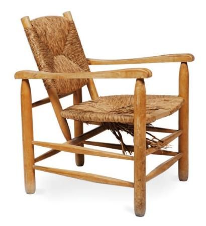 charlotte perriand oak rush armchair ca 1960 seating pinterest charlotte perriand. Black Bedroom Furniture Sets. Home Design Ideas