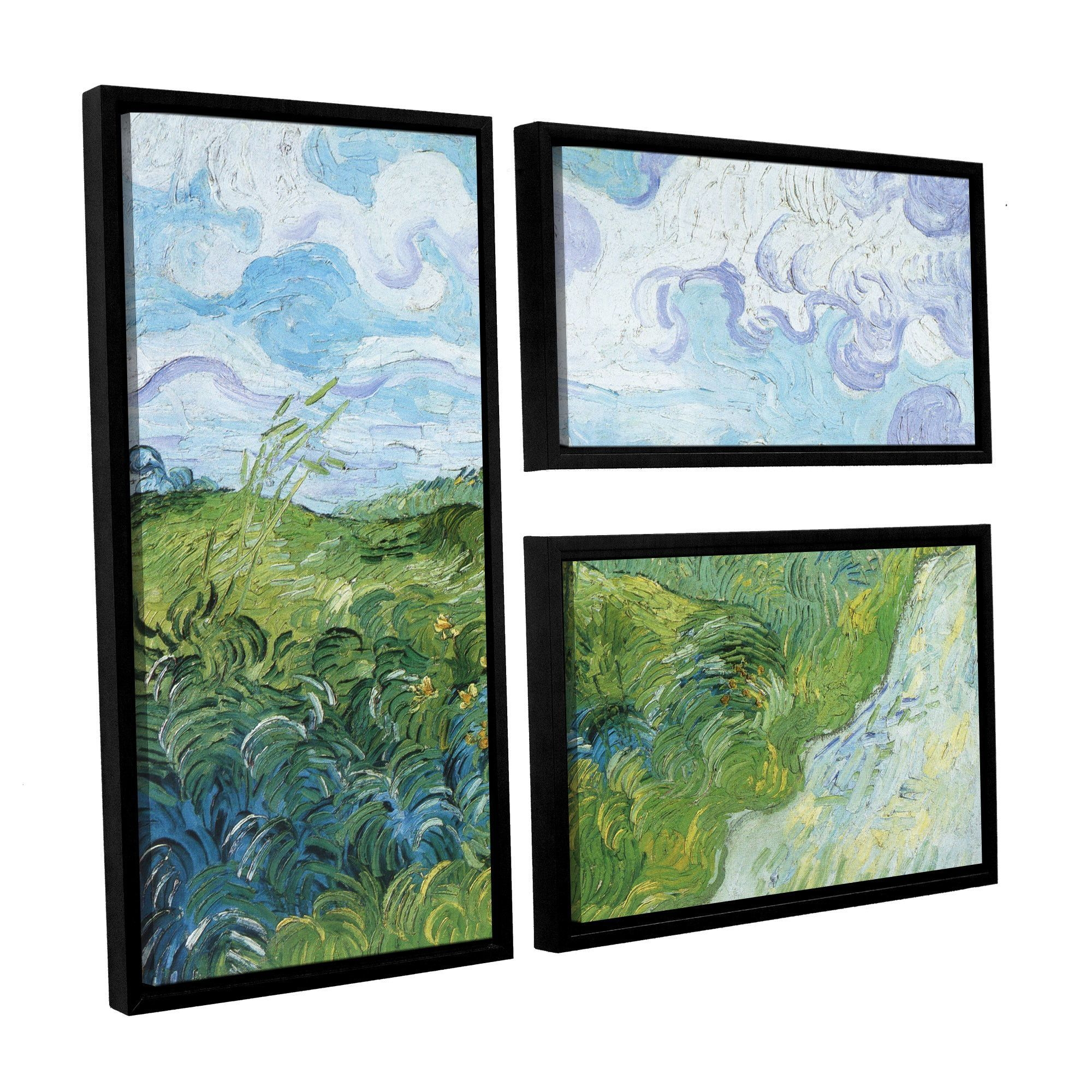 Field with Green Wheat by Vincent Van Gogh 3 Piece Framed Painting ...
