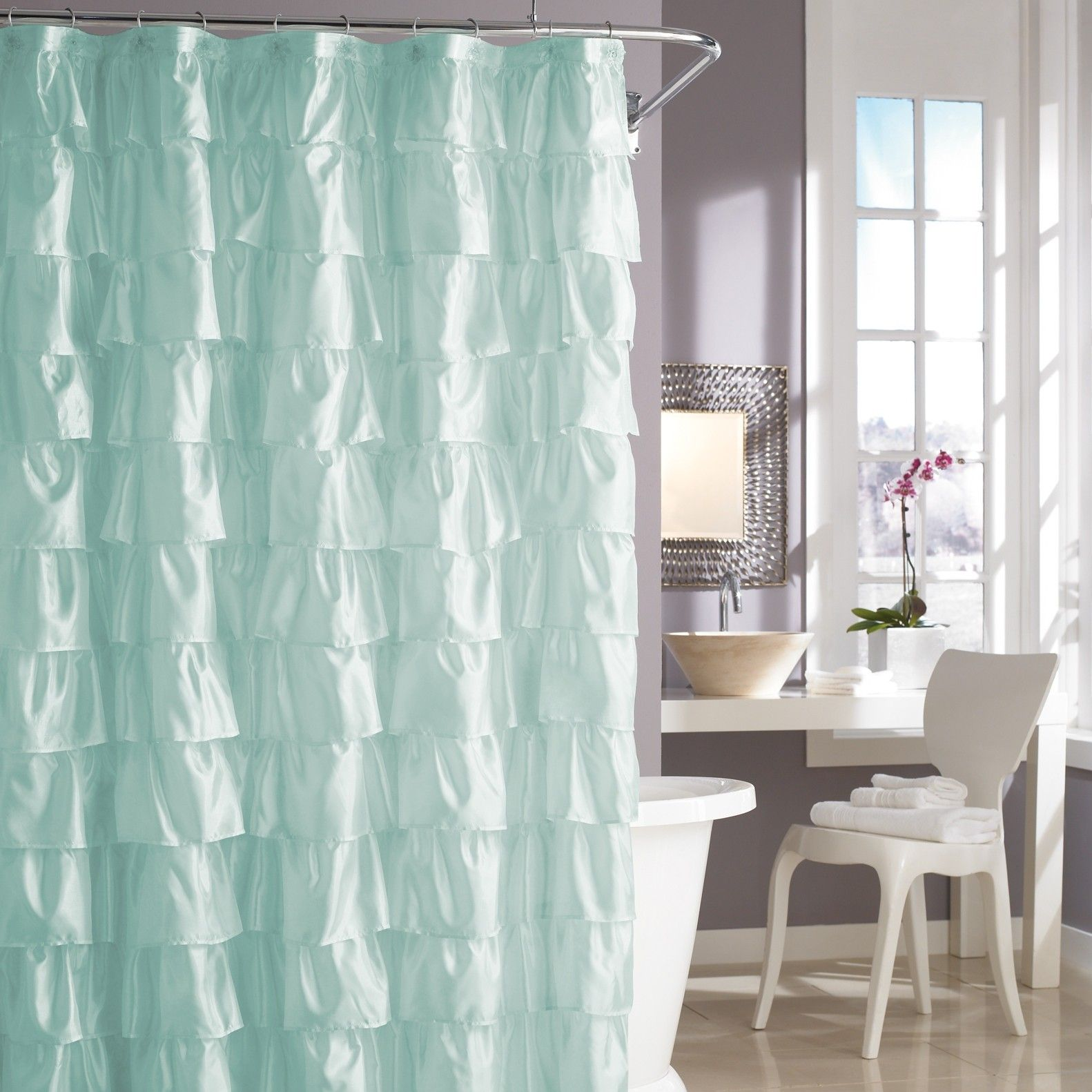 Pale Aqua Ruffle Shower Curtain Mermaid Bathroom Decor
