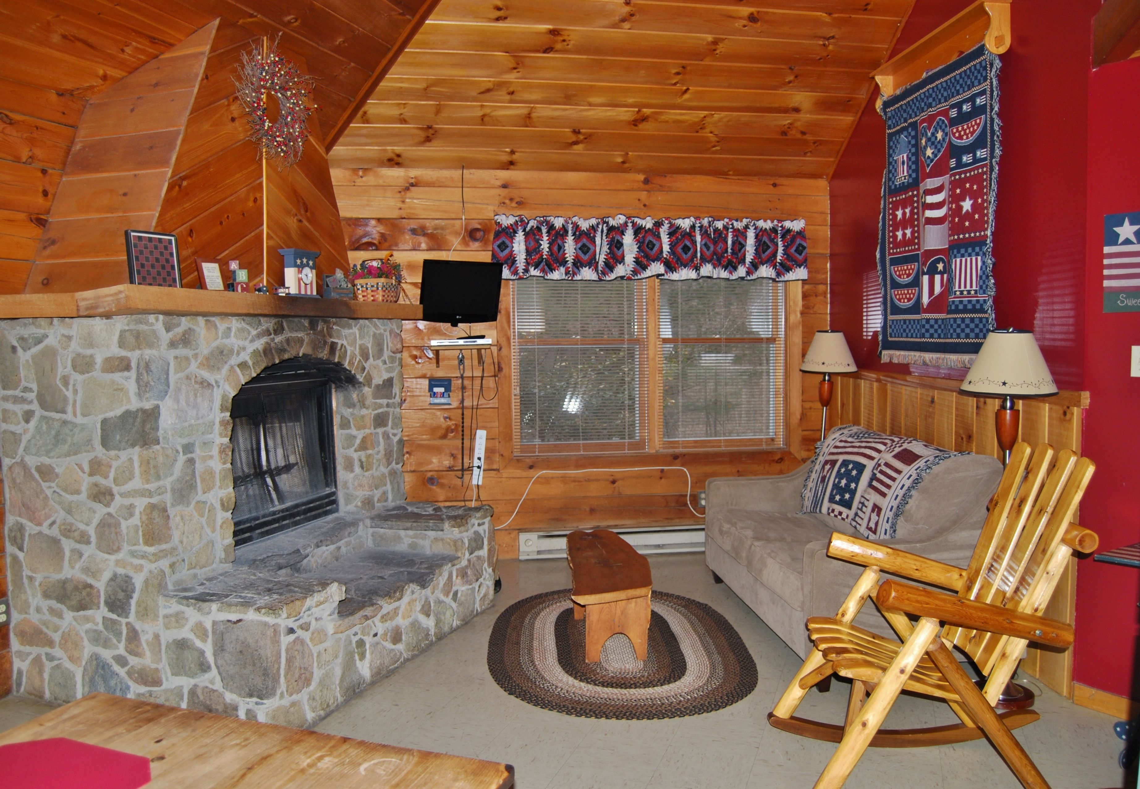 The Living Room at Phenix Luxury Log Cabin located at Ole Mink Farm