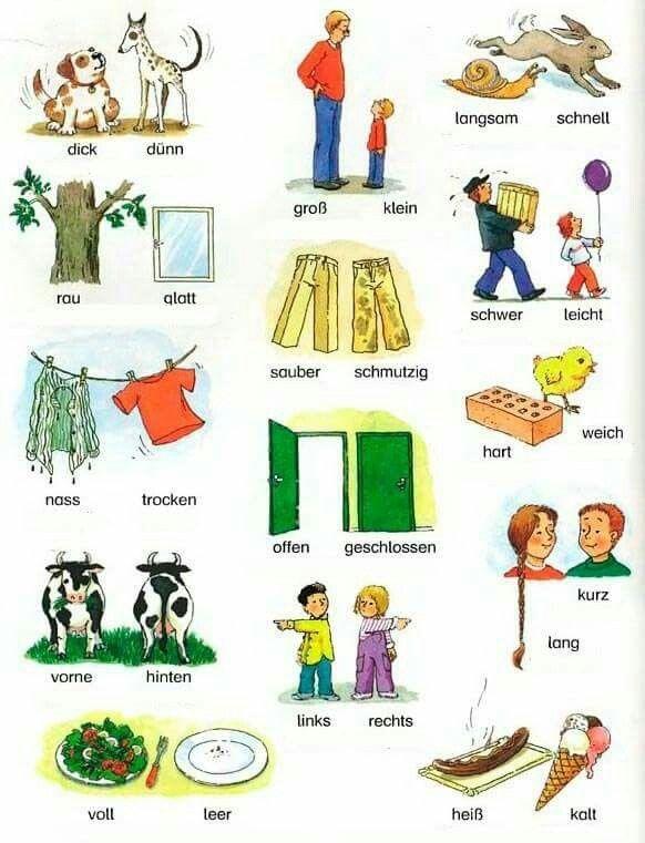 Gegensätze - Adjektive | Deutsch lernen, Deutsch, Deutsch