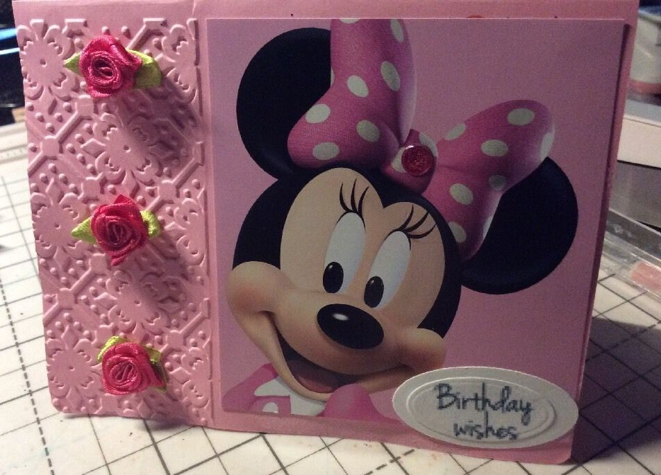 Birthday Card Ribbon Roses Hand Minnie Mouse Pink Dry Embossed Handmade