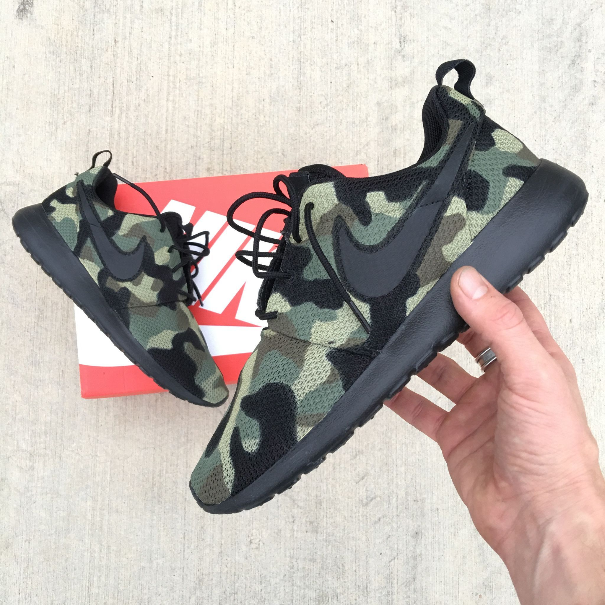 d58b141929b21 Custom painted Nike Roshe One. Camo. These shoes feature the black sole.  Paint is 100% permanent and will never come off. Price includes shoes &  artwork.