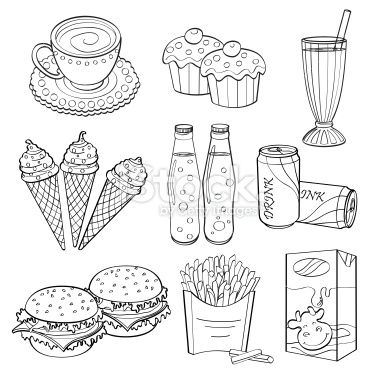 Fast food and Drinks Royalty Free Stock Vector Art Illustration ...