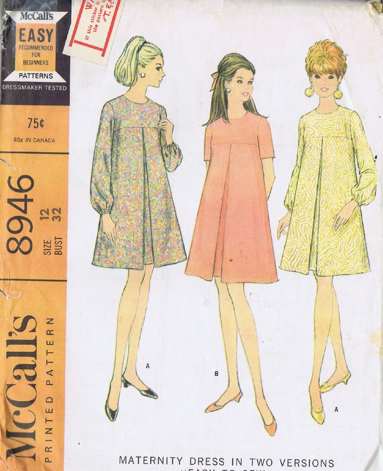 Vintage maternity dress sewing pattern mccall 8946 size 12 bust 32 vintage maternity dress sewing pattern mccall 8946 size 12 bust 32 hip 34 uncut ebay ombrellifo Images