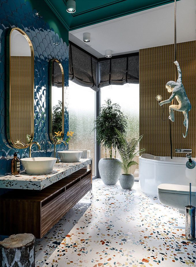 Terrazzo Bathrooms 浴室 デザイン カフェ内装 大浴場