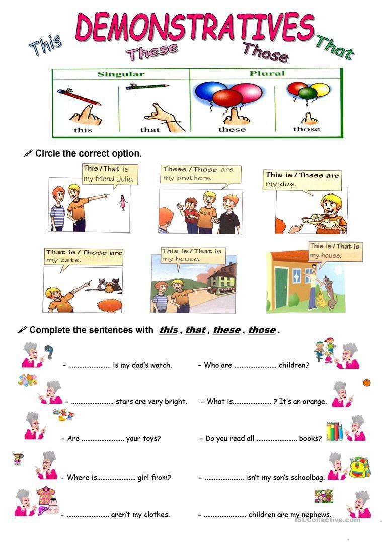DEMONSTRATIVES worksheet - Free ESL printable worksheets made by teachers    Demonstrative pronouns [ 1079 x 763 Pixel ]