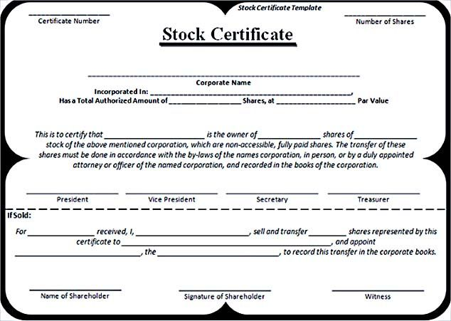 Editable Stock Certificate Template Word Format Free  Stock