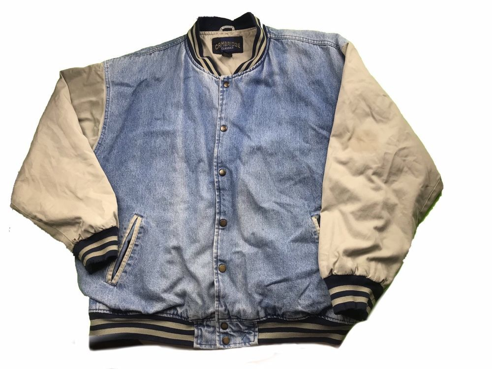 Vintage Cambridge Classics Denim Jean Snap Button Varsity Jacket-Men's XL #fashion #clothing #shoes #accessories #vintage #mensvintageclothing (ebay link) #varsityjacketoutfit