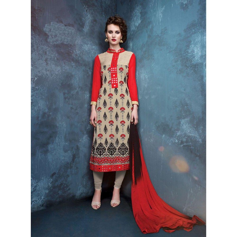Beige and Red Georgette Designer #Churidar Kameez- $34.38 | Designer ...