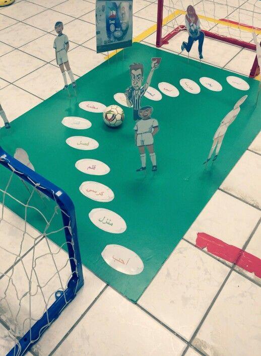النشاط عبارة عن ملعب كرة قدم تقوم المعلمة في بداية النشاط بسؤال الاطفال عن ملعب كرة القدم وماهي مكوناته بعد ذلك تشرح ف Kids Education Teach Arabic Activities