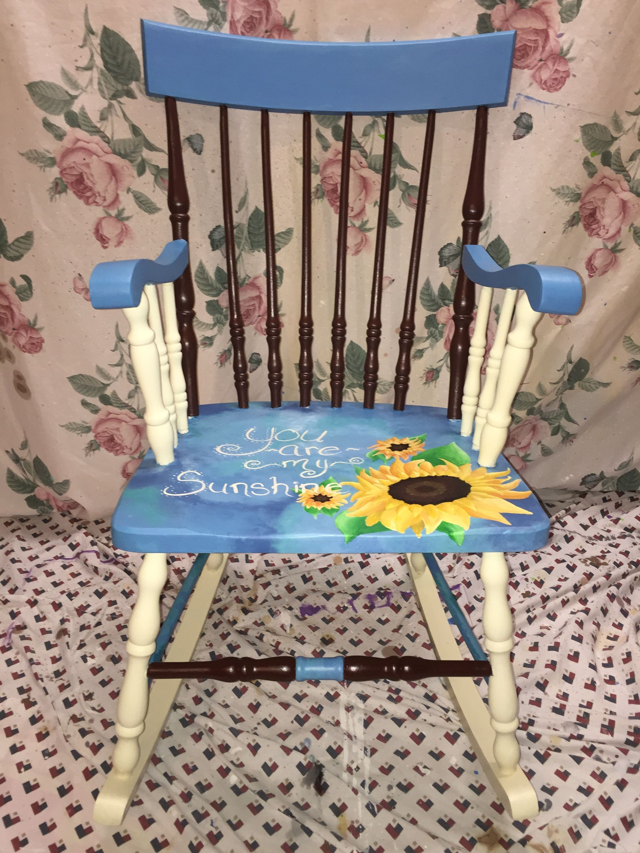Painted Rocking Chair, Painted With Acrylic Sunflowers And Quote You