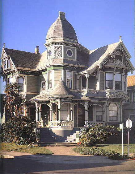American Victorian House Architecture Painting Design Style Queen