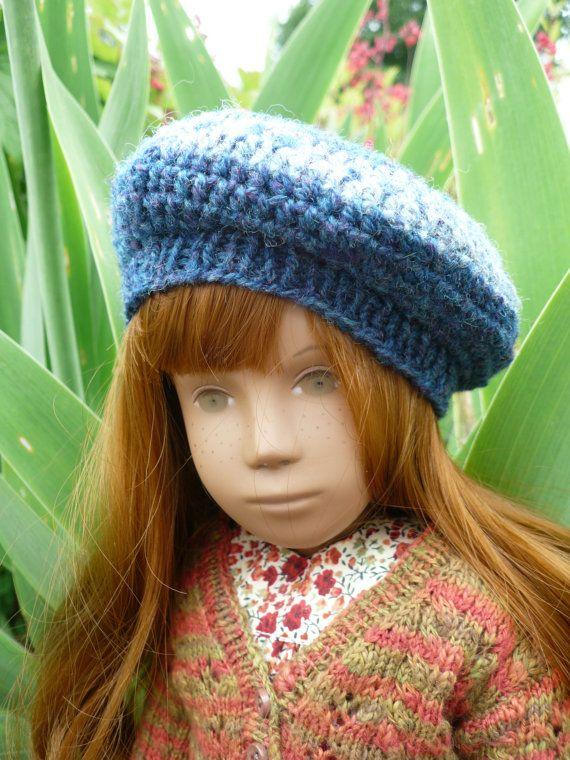 FairIsle type Beret hat in a blue Shetland  by TheDollsHatShop, £5.00