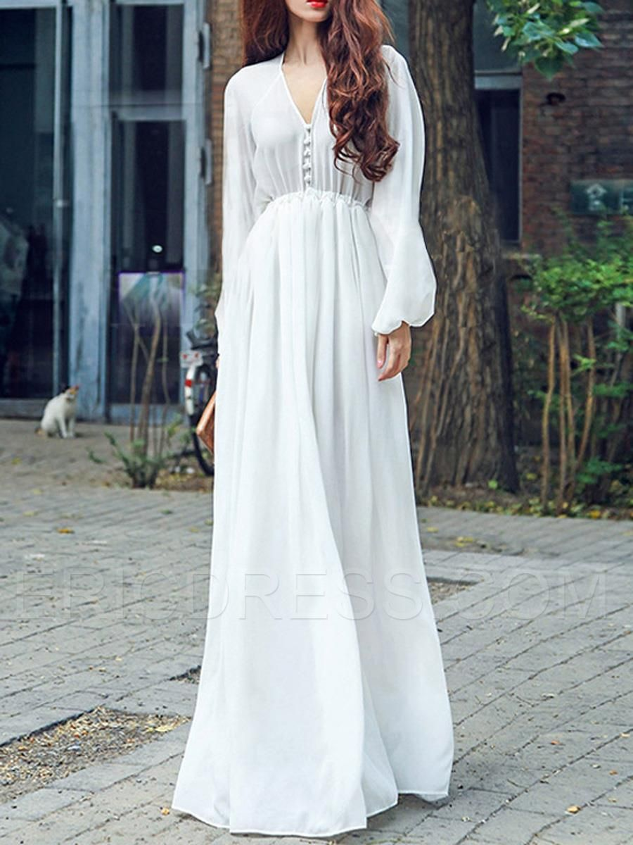 Ericdress Solid Color High-Waist Expansion Maxi Dress ...