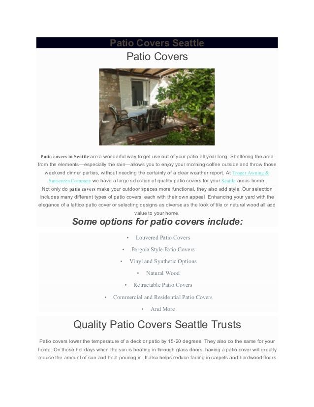 Http://www.awningbytroger.com/ Patio Covers In Seattle Are A