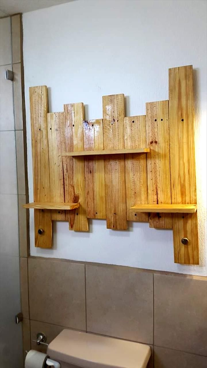 Etagere Salle De Bain Palette ~ pallet bathroom shelf for toiletries lov me some pallets