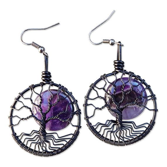 Black Tree of Life Earrings with Amethyst by MadamVonTrinkets