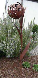 Kelchblume-Blume-Eisen-Edelrost-Rost-Gartenstecker-Gartendeko-Windlicht-1-2m-Neu