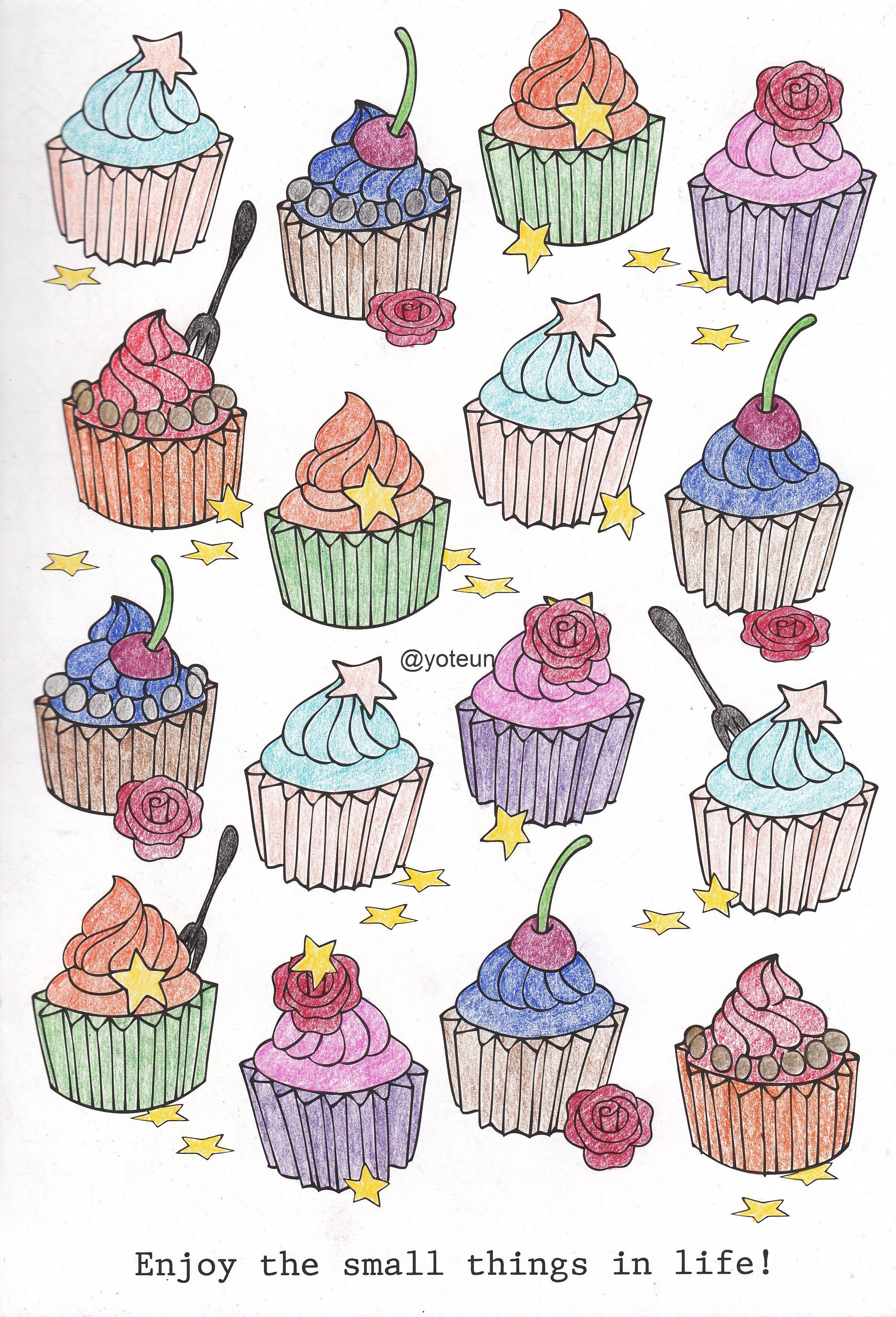 Cupcake Kleurplaten Kleuren