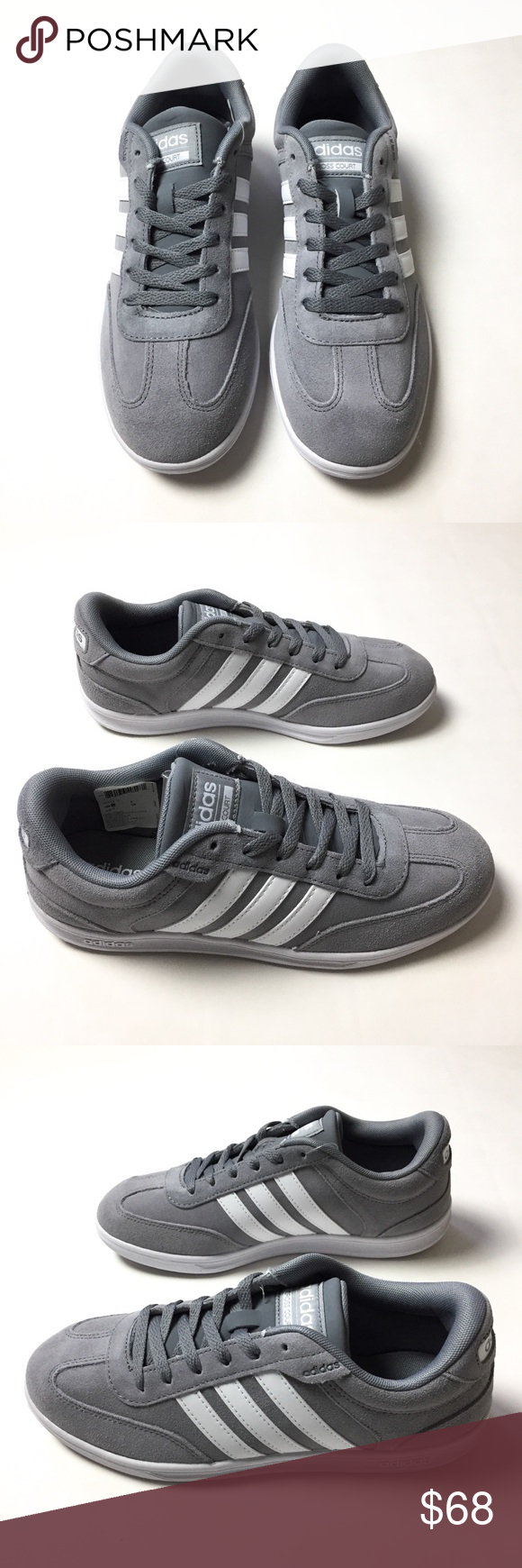 adidas Neo Men's Cross Court Sneakers Gray and white sneakers ...