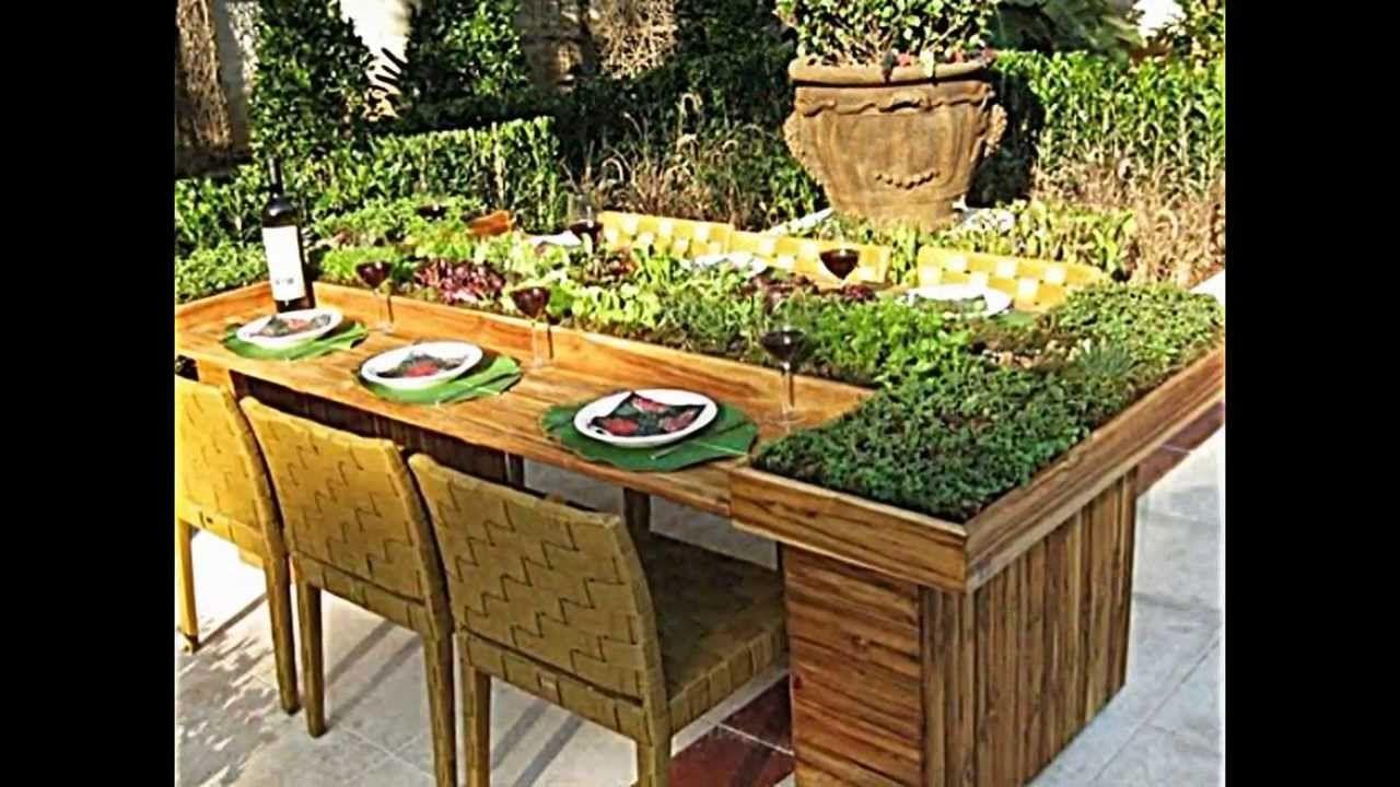 wie sie tisch aus europaletten selber bauen und dann bepflanzen, Gartengerate ideen