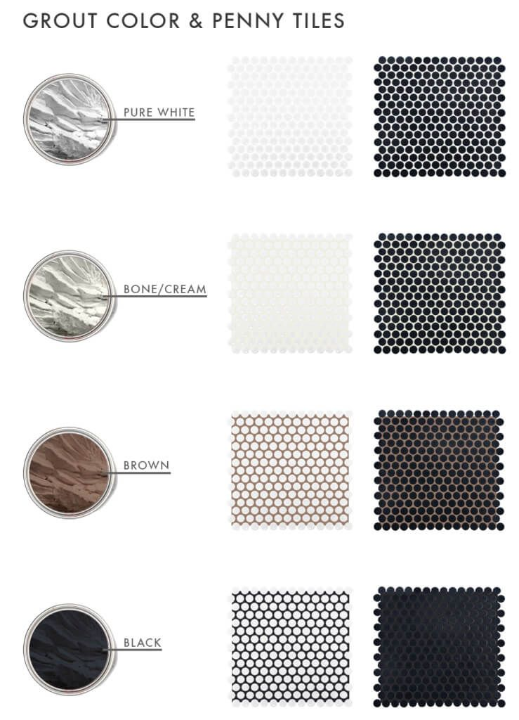 The Difference Grout Color Can Make To Your Tiles Emily Henderson Penny Tile Penny Tiles Bathroom Grout Color
