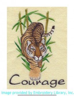 Stickmotiv Stickbild Aufnäher Stickerei Emblem Asien Tiger Tiger / Stickerei Asian Tiger of Courage (F6146)