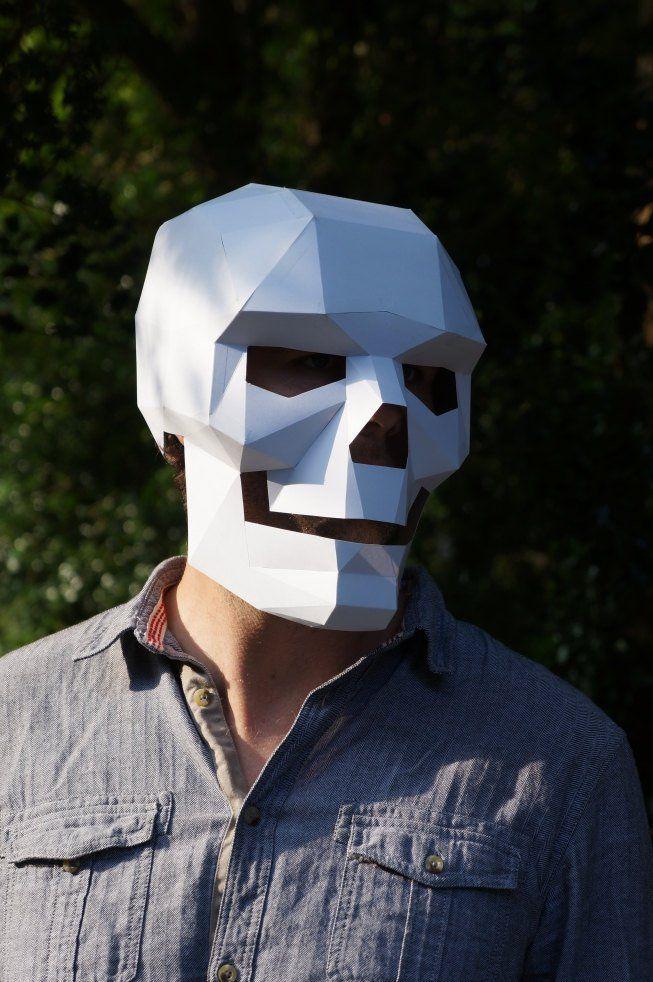 How To Make A Polygonal Cardboard Skull Mask Skulls Skull Mask