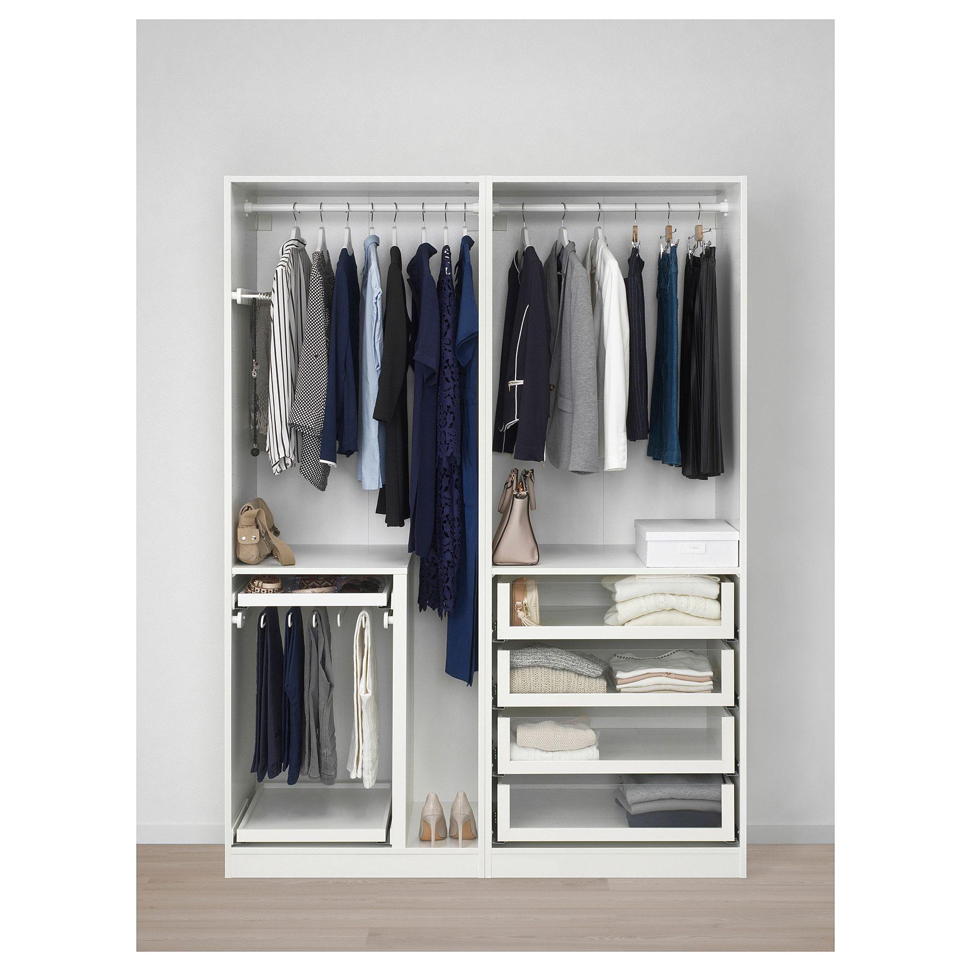 PAX Wardrobe white, Uggdal gray glass IKEA, glass