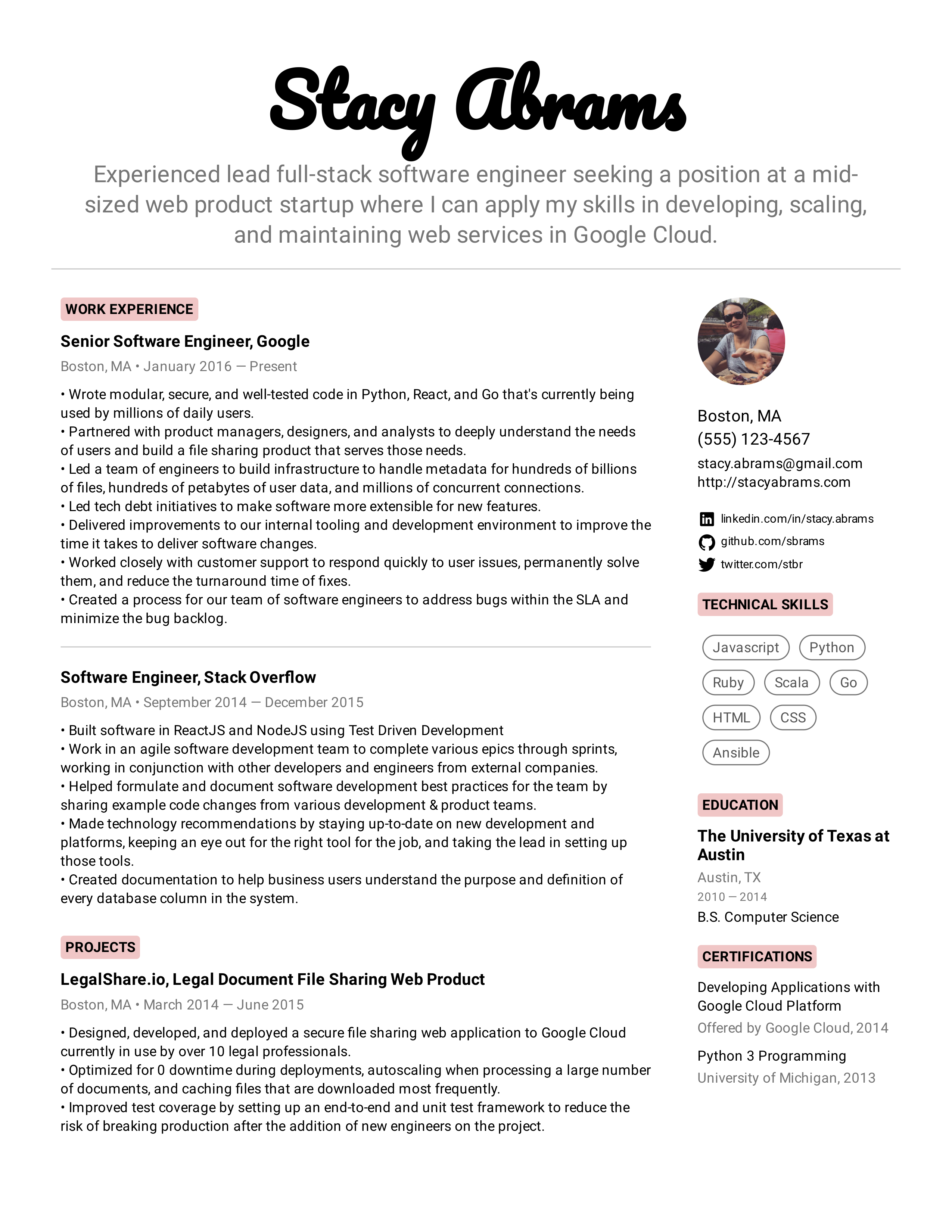 Software Engineer Resume Example Software Engineer Resume Examples Software