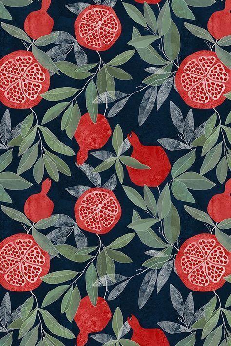Pomegranate garden on dark by lavish_season - Hand... - #background #Dark #Garden #Hand #lavishseason #Pomegranate #wallpaperpatterns
