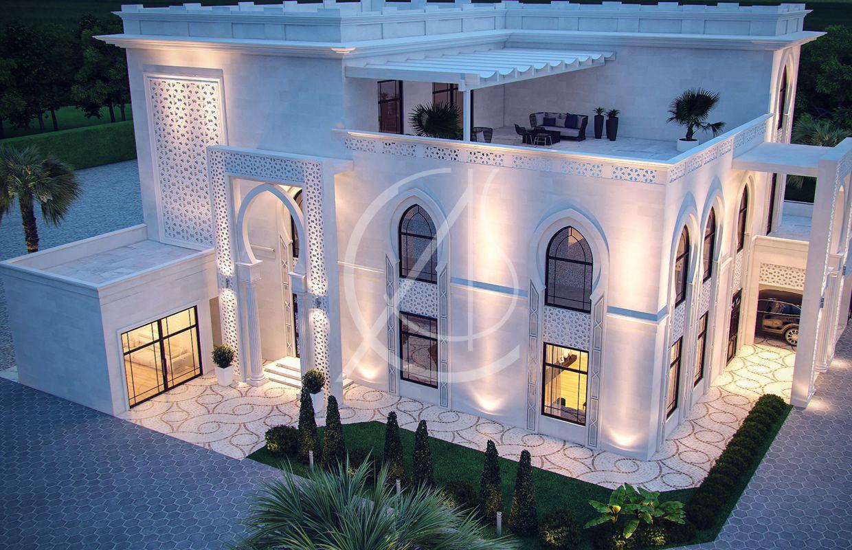 White Modern Islamic Villa Exterior Design Jeddah Saudi