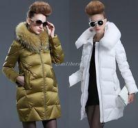 Luxury Real FOX FUR COLLAR Hooded Women Long Warm Duck Down Parkas Outwear Coats