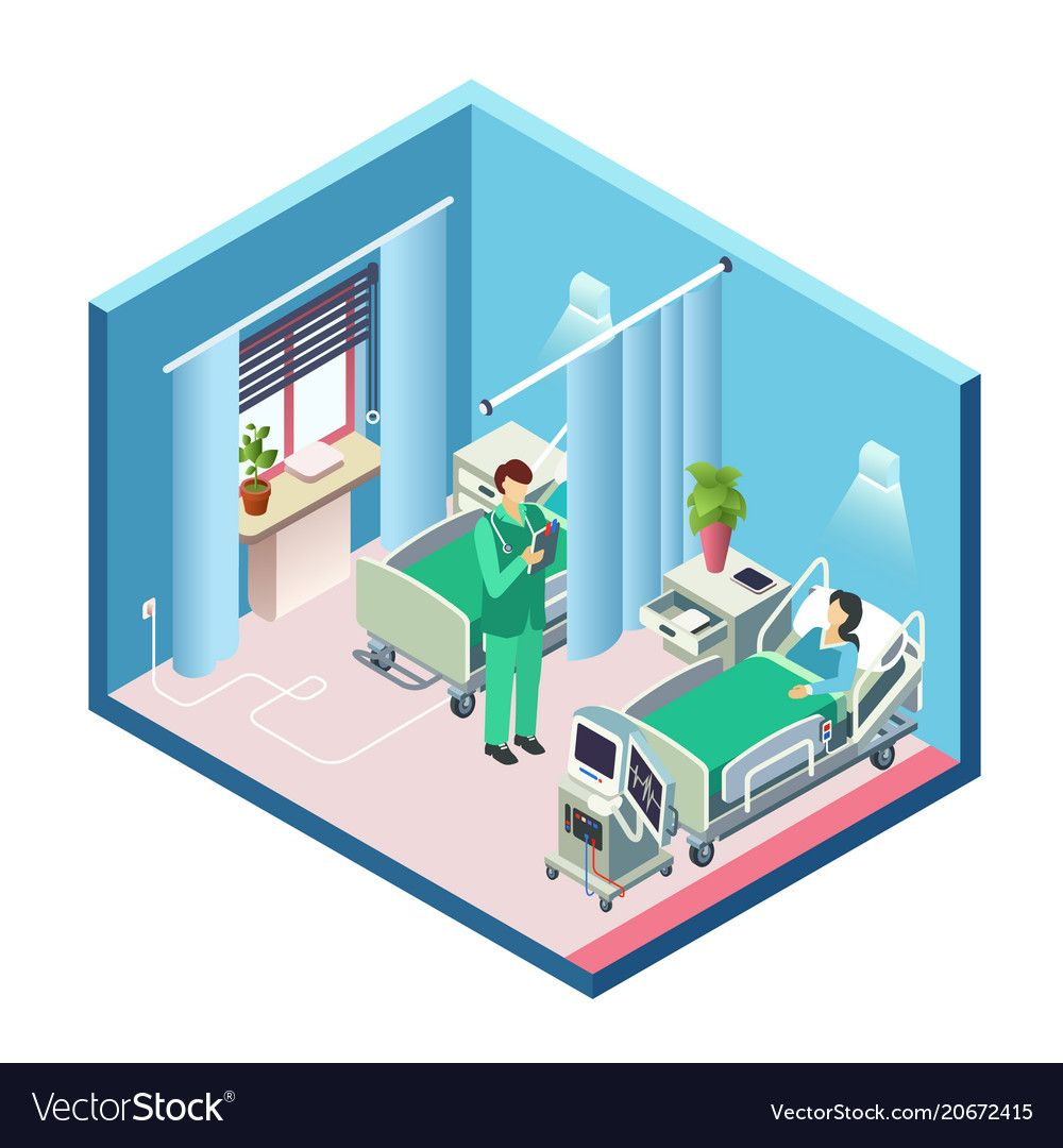Isometric hospital room patient doctor Royalty Free Vector ,