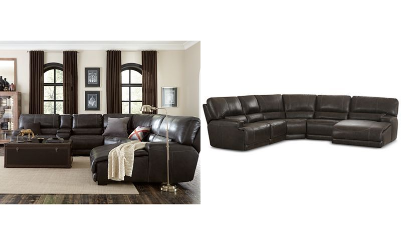 Warrin 5 Piece Leather Chaise Sectional With Power Recliner Sale Clearance For Sectional Sofa With Chaise Leather Chaise Sectional Leather Sectional Sofa