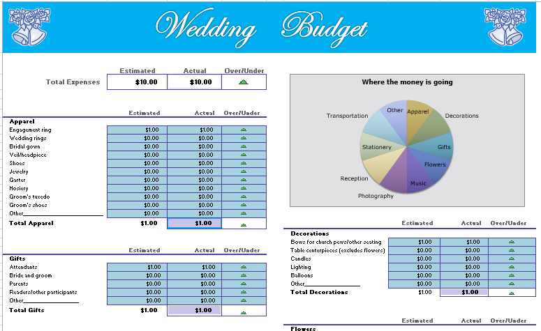 Wedding Budget Template For Excel 2013 Excel Templates Wedding Budget Calculator Wedding Budget Template Budget Calculator