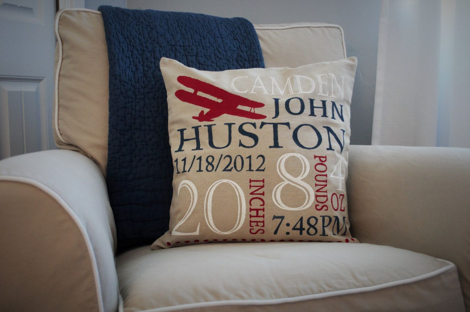 Personalized birth pillow cover birth announcement pillow cover