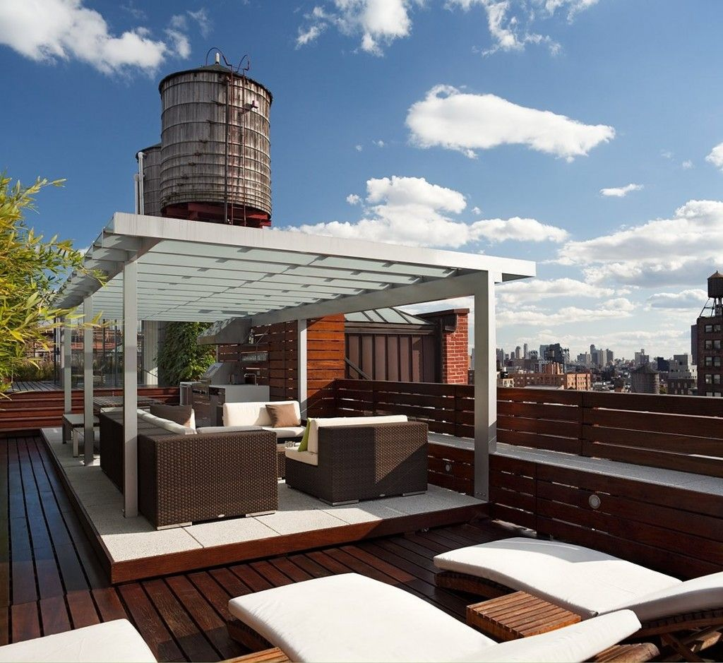 decorating wonderful modern minimalist roof top lounge design ideas roof deck patio with outdoor rattan furniture wooden plank fence and lounge chair - Rooftop Deck Design Ideas