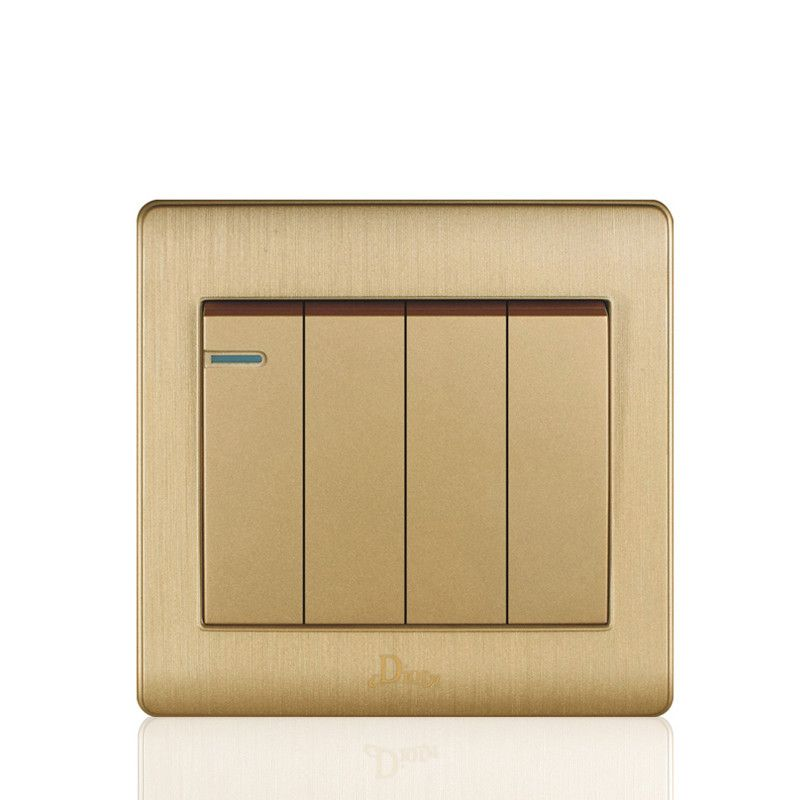 Darling switch 4 gang 2 way wall switch and gold 10A wall light ...