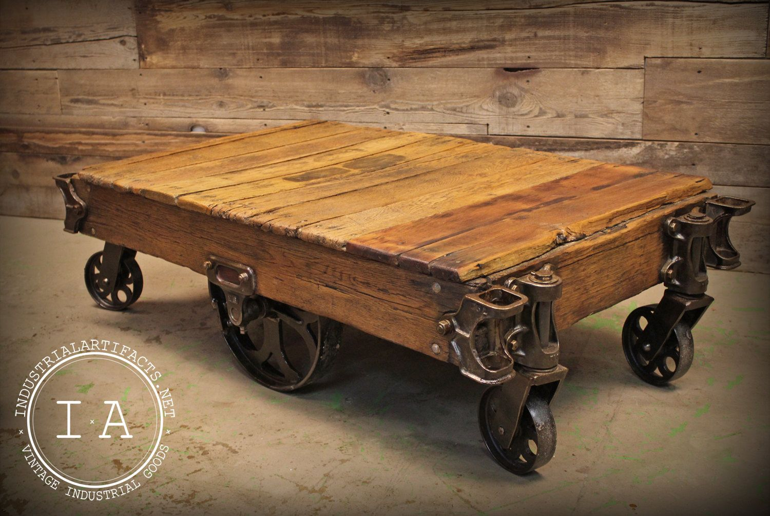 To Know More About Vintage 6 Wheel Factory Rail Yard Rocker Cart Coffee Table Visit Sumally A Social Network That Gathers Together All The