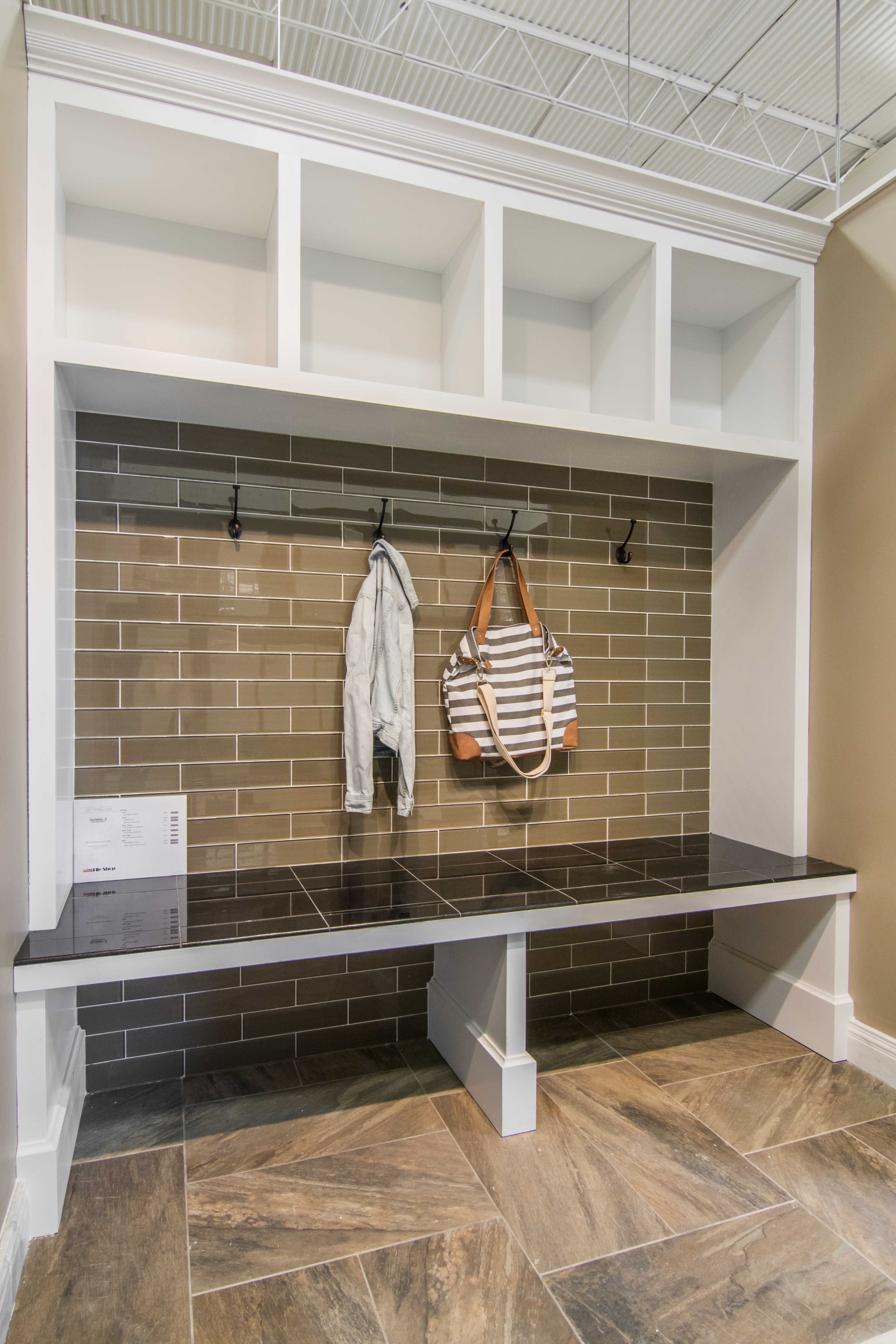 Tile Foyer And Kitchen : Entryway mudroom khaki toned wall tile halsted glass