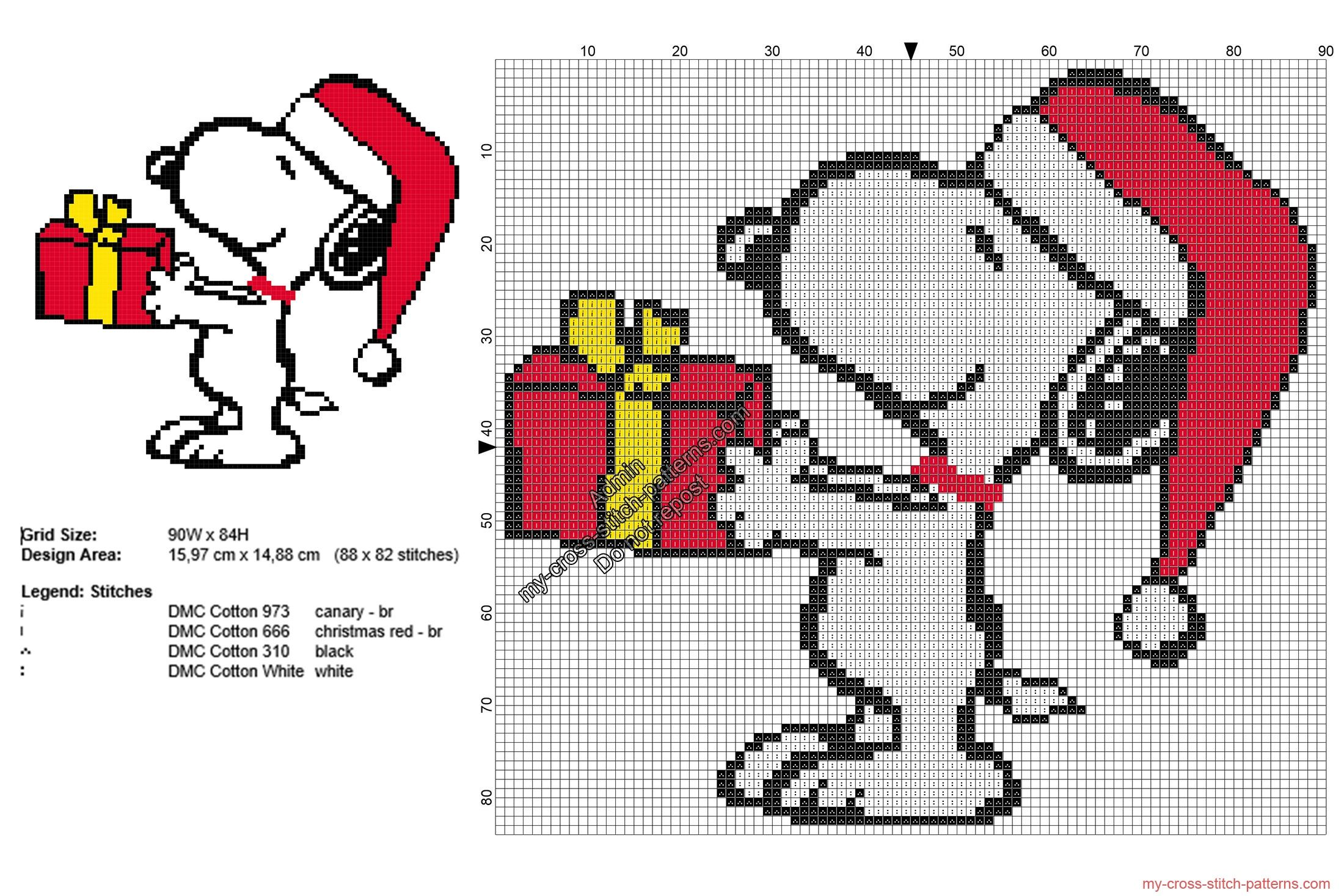 Christmas Snoopy with a present free cross stitch pattern 88x82 ...