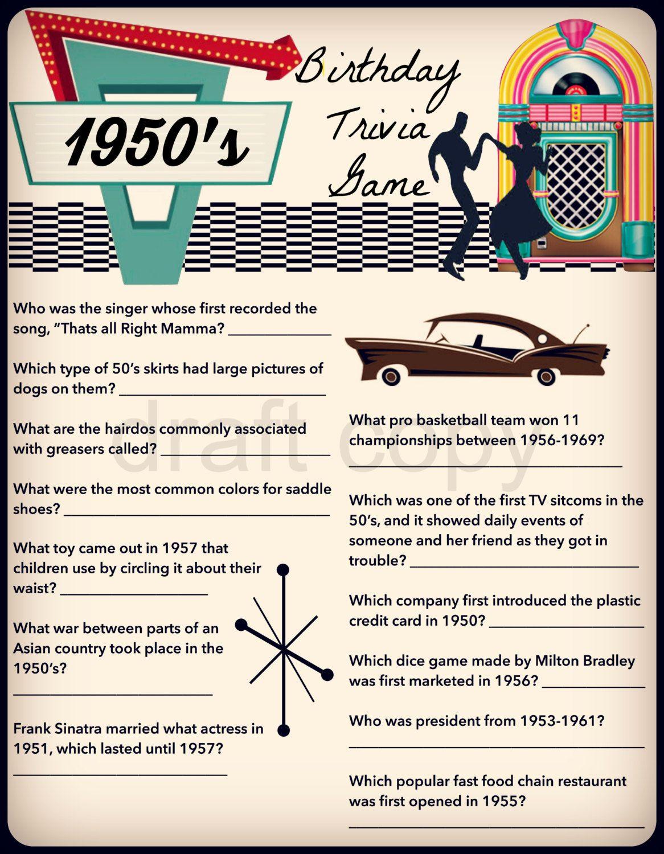 1950's Birthday Trivia Game Birthday Party Trivia 50's