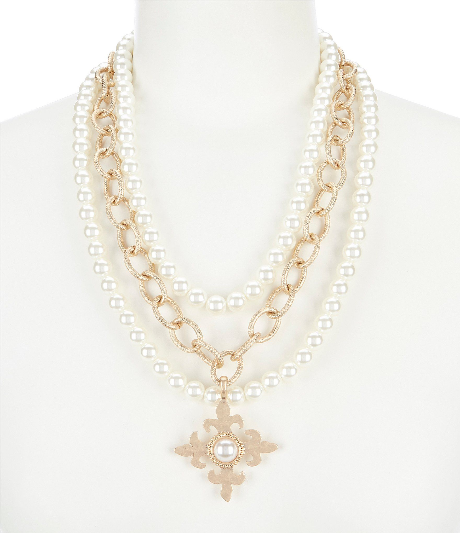 8d3d47ec7d00c Southern Living Husk Multi Strand Pearl Cross Necklace #Dillards ...