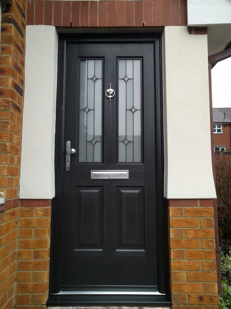 best authentic b3d17 ab334 Black on black composite front door fitted in berkamstead ...