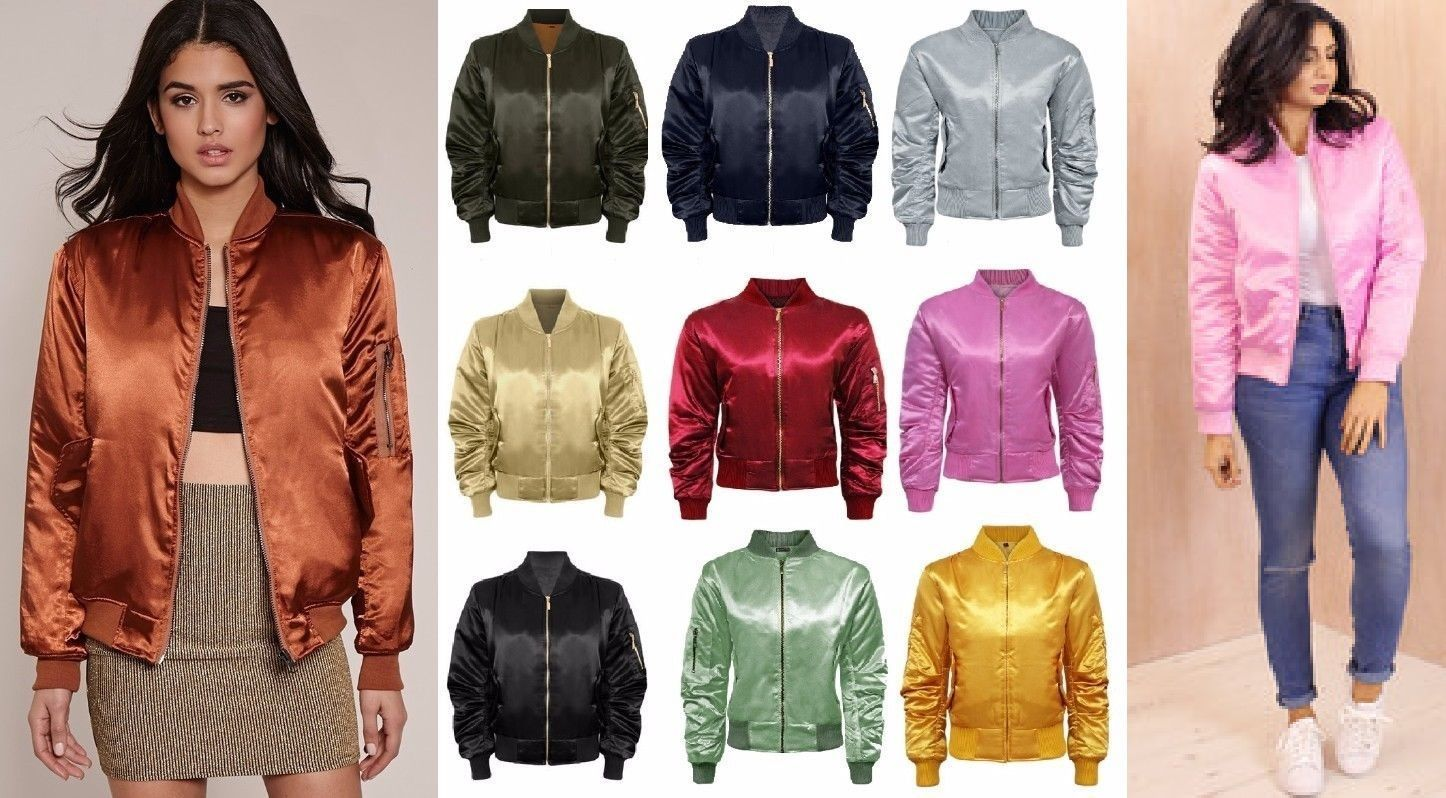e88a933b619 Womens Ladies Padded Satin Ma1 Bomber Jacket Quilted Coat Winter Vintage  Flight