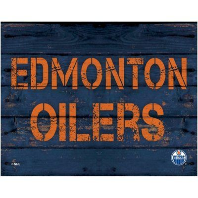 Edmonton Oilers 11\'\' x 14\'\' Rustic Option Wall Décor - Navy Blue ...